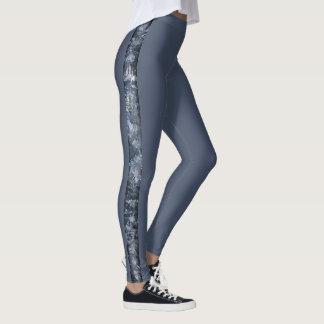 Thin Stripe of Pale Blue Grunge Collage Leggings