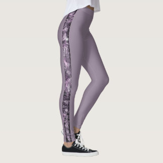 Thin Stripe of Pale Purple Grunge Collage Leggings