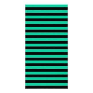 Thin Stripes - Black and Caribbean Green Customized Photo Card