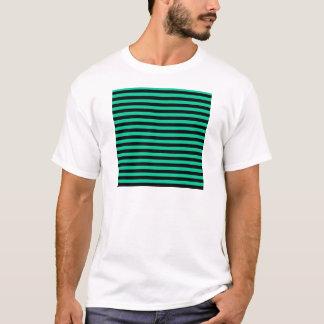 Thin Stripes - Black and Caribbean Green T-Shirt