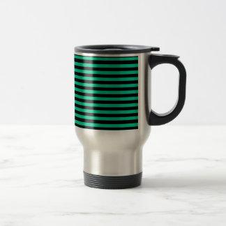 Thin Stripes - Black and Caribbean Green Travel Mug