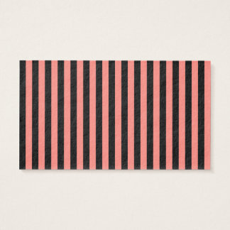 Thin Stripes - Black and Coral Pink Business Card