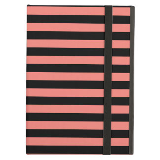 Thin Stripes - Black and Coral Pink iPad Air Covers