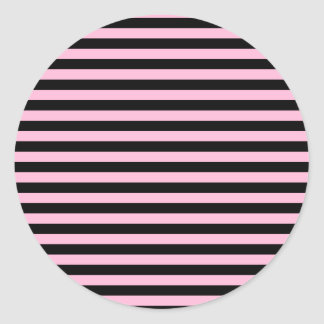 Thin Stripes - Black and Cotton Candy Classic Round Sticker