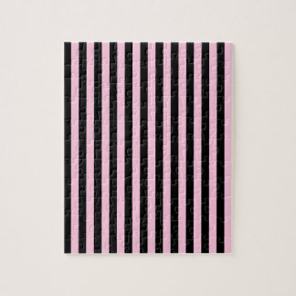 Thin Stripes - Black and Cotton Candy Jigsaw Puzzle