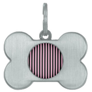 Thin Stripes - Black and Cotton Candy Pet ID Tag