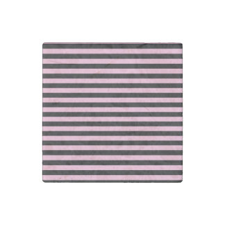 Thin Stripes - Black and Cotton Candy Stone Magnets