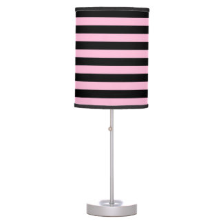 Thin Stripes - Black and Cotton Candy Table Lamps