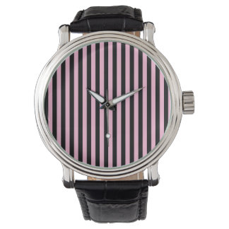 Thin Stripes - Black and Cotton Candy Watch