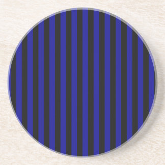 Thin Stripes - Black and Dark Blue Drink Coaster