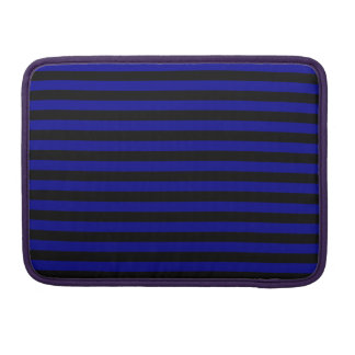 Thin Stripes - Black and Dark Blue MacBook Pro Sleeves