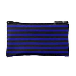 Thin Stripes - Black and Dark Blue Makeup Bag