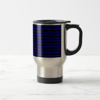 Thin Stripes - Black and Dark Blue Travel Mug