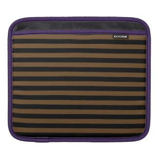 Thin Stripes - Black and Dark Brown iPad Sleeve