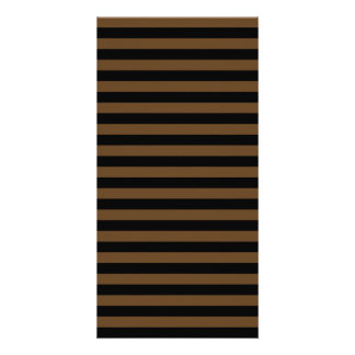Thin Stripes - Black and Dark Brown Personalized Photo Card
