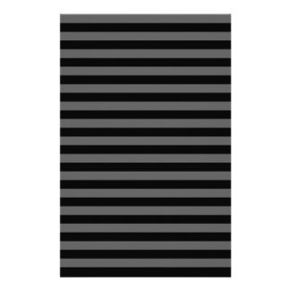 Thin Stripes - Black and Dark Gray Stationery