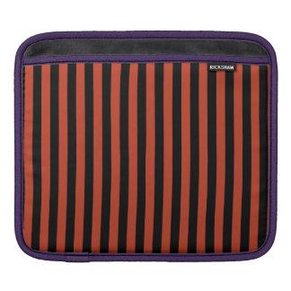 Thin Stripes - Black and Dark Pastel Red iPad Sleeve