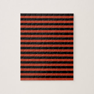Thin Stripes - Black and Dark Pastel Red Jigsaw Puzzle