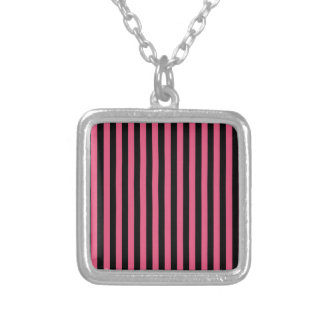 Thin Stripes - Black and Dark Pink Silver Plated Necklace