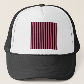 Thin Stripes - Black and Dark Pink Trucker Hat