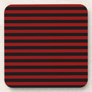 Thin Stripes - Black and Dark Red Beverage Coaster