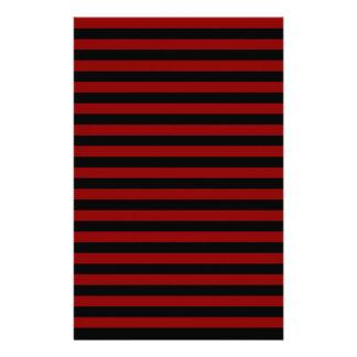 Thin Stripes - Black and Dark Red Stationery