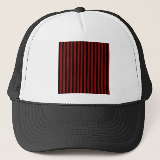 Thin Stripes - Black and Dark Red Trucker Hat