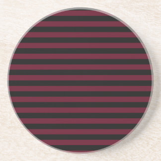 Thin Stripes - Black and Dark Scarlet Beverage Coasters
