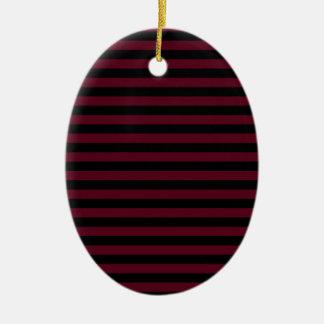 Thin Stripes - Black and Dark Scarlet Ceramic Ornament