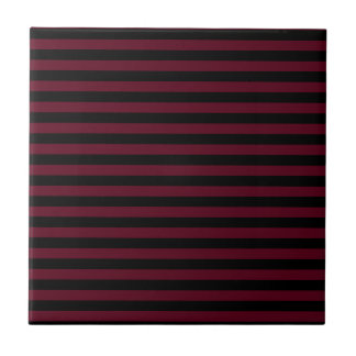 Thin Stripes - Black and Dark Scarlet Ceramic Tile