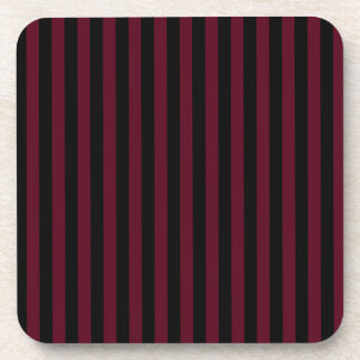 Thin Stripes - Black and Dark Scarlet Coasters
