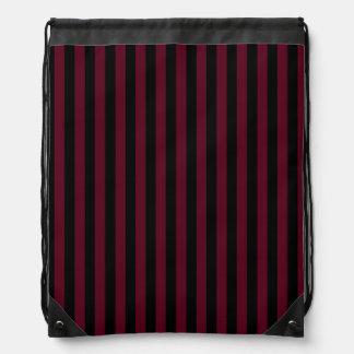 Thin Stripes - Black and Dark Scarlet Drawstring Bag