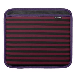 Thin Stripes - Black and Dark Scarlet iPad Sleeve