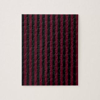 Thin Stripes - Black and Dark Scarlet Jigsaw Puzzle