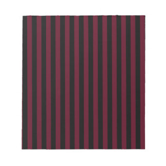 Thin Stripes - Black and Dark Scarlet Notepads