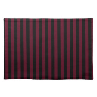 Thin Stripes - Black and Dark Scarlet Place Mat