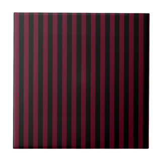 Thin Stripes - Black and Dark Scarlet Tiles