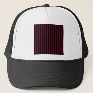 Thin Stripes - Black and Dark Scarlet Trucker Hat