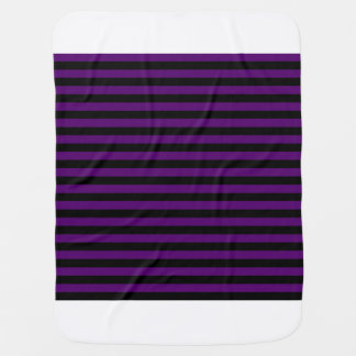 Thin Stripes - Black and Dark Violet Baby Blanket