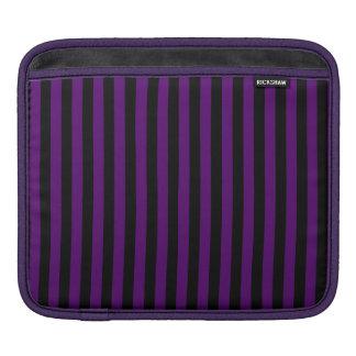 Thin Stripes - Black and Dark Violet iPad Sleeves