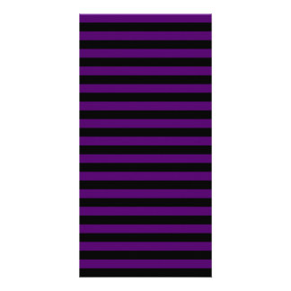 Thin Stripes - Black and Dark Violet Photo Card Template