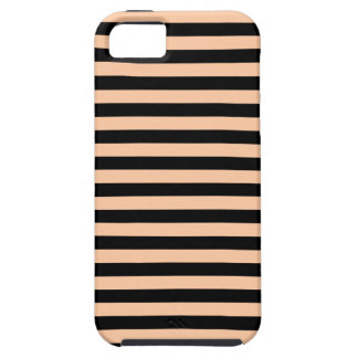 Thin Stripes - Black and Deep Peach Case For The iPhone 5