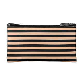 Thin Stripes - Black and Deep Peach Cosmetics Bags
