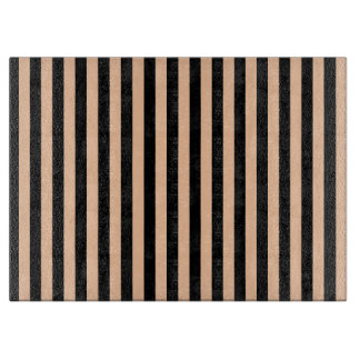 Thin Stripes - Black and Deep Peach Cutting Board