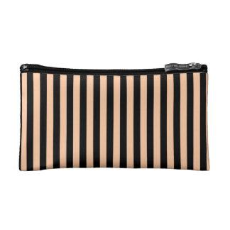 Thin Stripes - Black and Deep Peach Makeup Bag