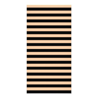 Thin Stripes - Black and Deep Peach Photo Cards