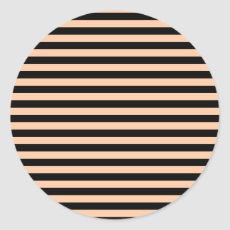 Thin Stripes - Black and Deep Peach Round Sticker