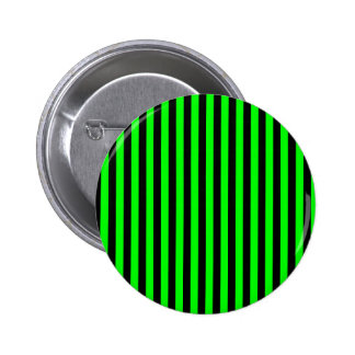 Thin Stripes - Black and Electric Green 2 Inch Round Button