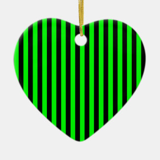 Thin Stripes - Black and Electric Green Ceramic Heart Ornament