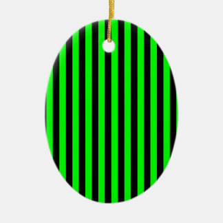 Thin Stripes - Black and Electric Green Ceramic Oval Ornament